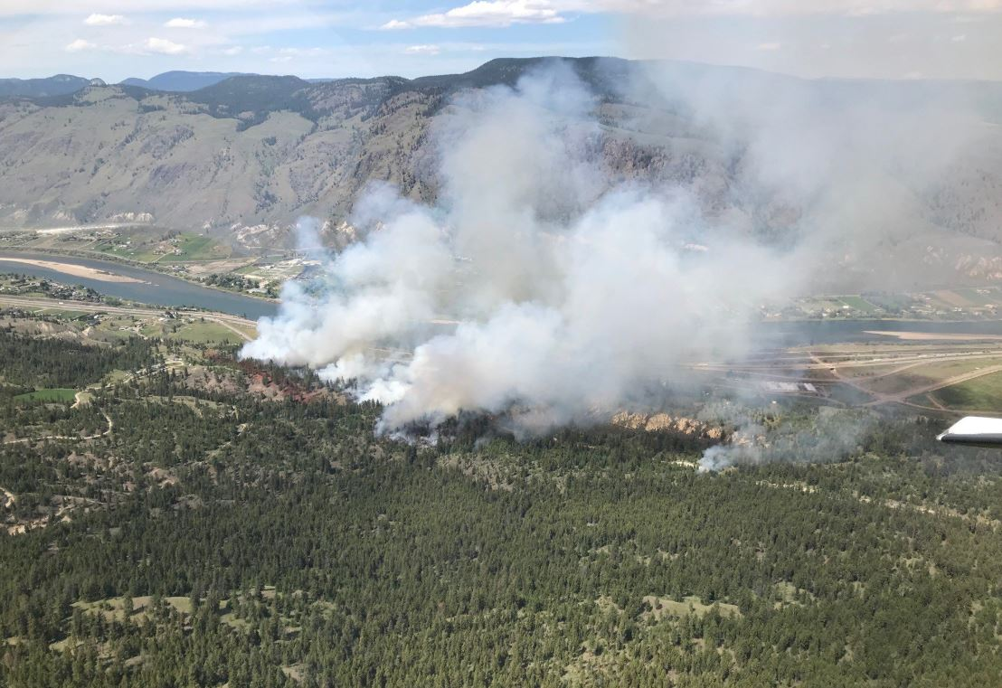 A 19 hectare wildfire that broke out east of Kamloops, B.C. on Sunday afternoon may have been caused by a CN train.