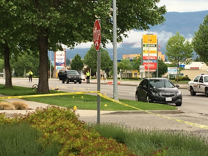 Part of Harvey Avenue near Orchard Plaza in Kelowna was closed down following a collision between an off-duty officer's vehicle and a cyclist in May.