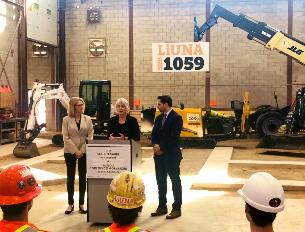 Minister of Emplyment, Workforce Development and Labour Patty Hajdu makes the announcement at LiUNA 1059, with London-area MP's Peter Fragiskatos and Kate Young.