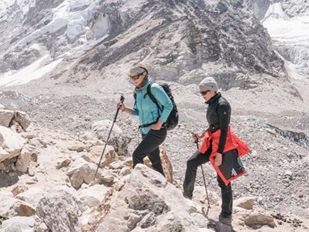 A photograph of two women taken by Mandy Moore during her climb to the Mount Everest Base camp in Nepal, on May 29, 2019.