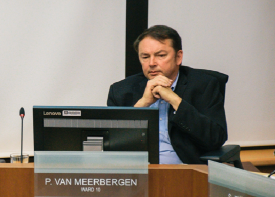 Councillor Paul van Meerbergen during a committee meeting in 2018.