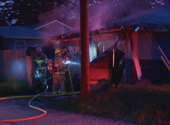 Crews responded to a detached garage fire in northeast Calgary on Tuesday night.