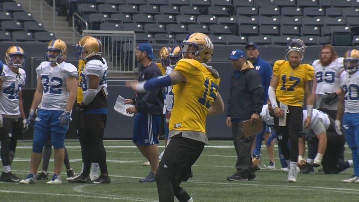 Winnipeg Blue Bombers quarterback Matt Nichols completes a throw in training camp.