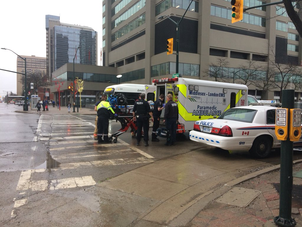 Police, paramedics and firefighters respond to a suspected overdose call in the area of Dundas and Wellington streets on May 3, 2019.