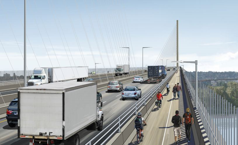 An artist's rendering of the new Pattullo Bridge. The environment and municipal affairs ministries announced Thursday they have granted the Ministry of Transportation an environment assessment certificate for the project, keeping it on track to start construction this year.