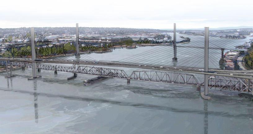 An artist's rendering of the new Pattullo Bridge.