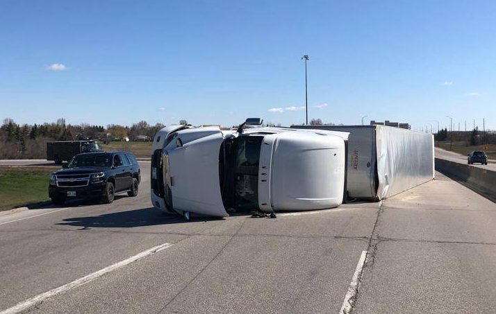 This rollover on the south Perimeter forced the closure of the westbound lanes at the Pembina overpass.