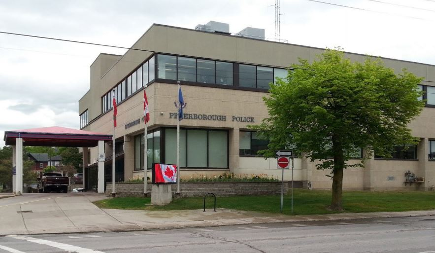A Peterborough man has been charged after an alleged outburst at the Peterborough Police Station on Saturday.