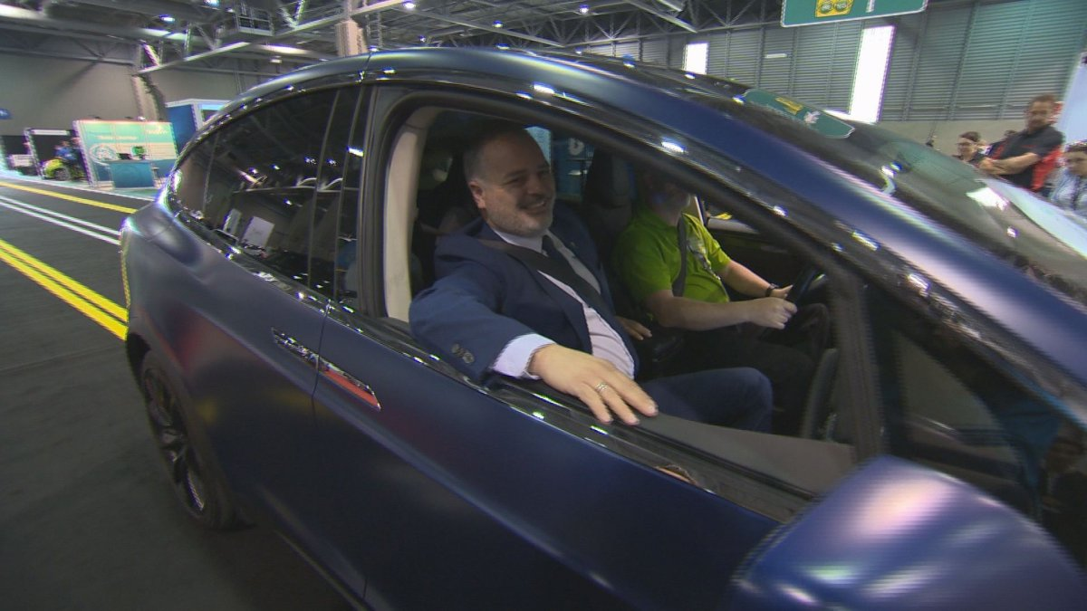 Quebec Energy Minister Jonatan Julien arrives at the electric car show in Quebec City Friday, May 24, 2019.
