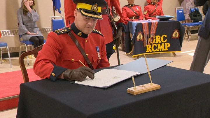 Mark Fisher was sworn in as the commanding officer of RCMP in Saskatchewan at an official ceremony on Thursday.