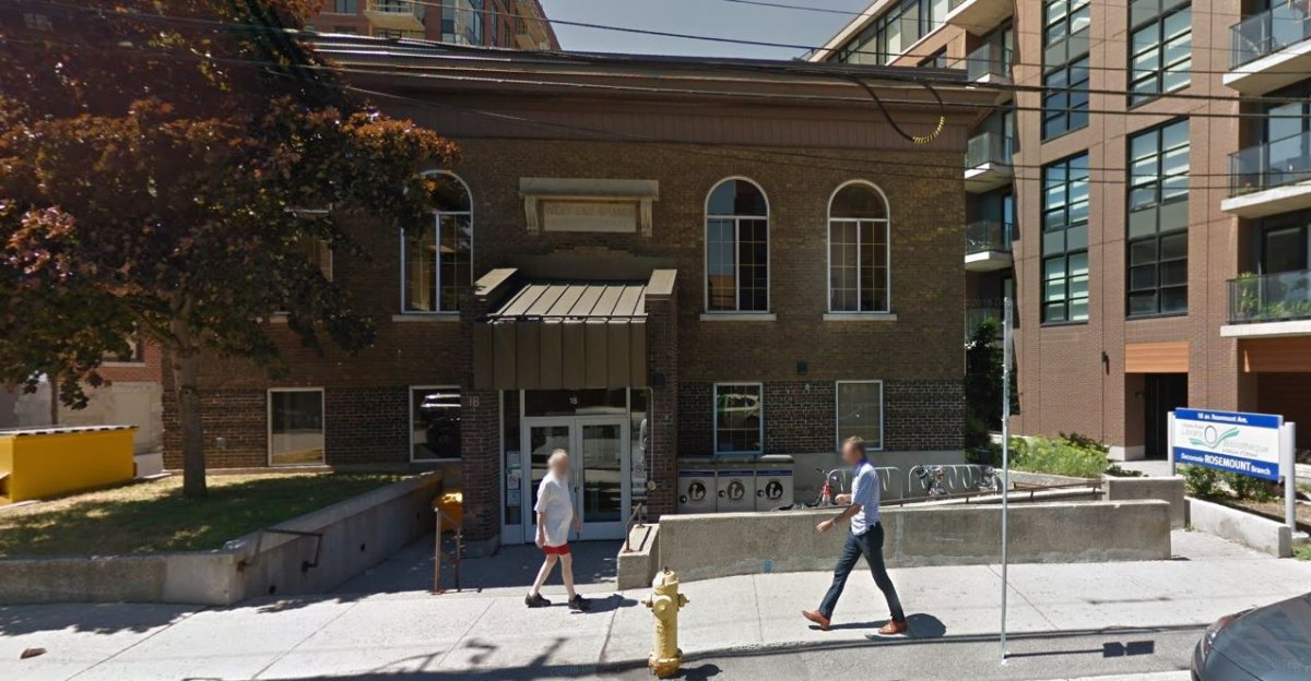 A Google Maps screen capture of the Ottawa Public Library's branch on Rosemount Avenue. The branch, the oldest library facility in the national capital, is closing for major renovations starting on June 3 and is expected to reopen in spring 2020.