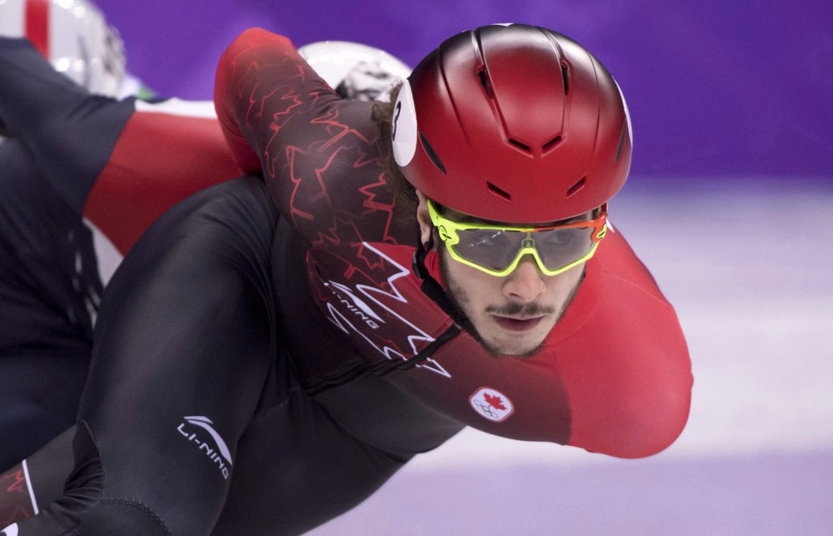 Canada's Samuel Girard, of Ferland-et-Boilleau, Que., competes in the men's 1000-metre short-track speedskating quarter-finals at the 2018 Olympic Winter Games, in Gangneung, South Korea on February 17, 2018. Olympic short-track speedskating champion Samuel Girard has announced his retirement from the sport. The 22-year-old from Ferland-et-Boilleau, Que., won a gold medal in the men's 1,000 metres and helped Canada to a bronze in the 5,000-metre relay at the 2018 Winter Olympics in Pyeongchang, South Korea.