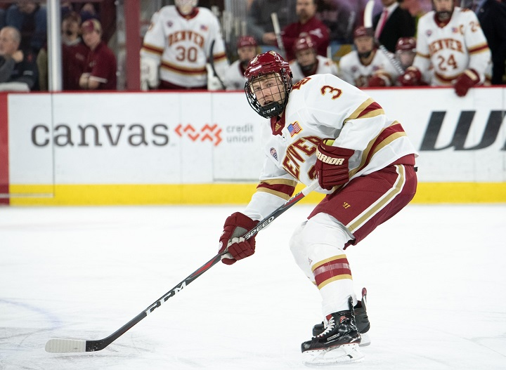 Sean Comrie, seen here playing for the University of Denver, has signed a contract with the Kelowna Rockets. In May 2020, Kelowna will host the Memorial Cup.