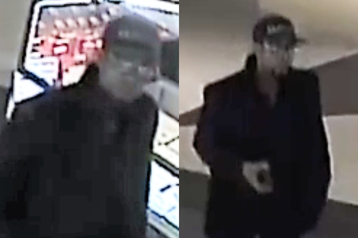 The suspect is described as 5'8 with a slight build, curly hair, glasses and facial hair. He was also wearing a baseball hat and a dark jacket.