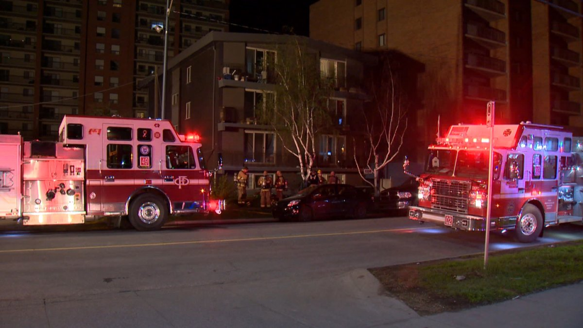 Calgary firefighters respond to a fire in a Beltline apartment on May 23, 2019.