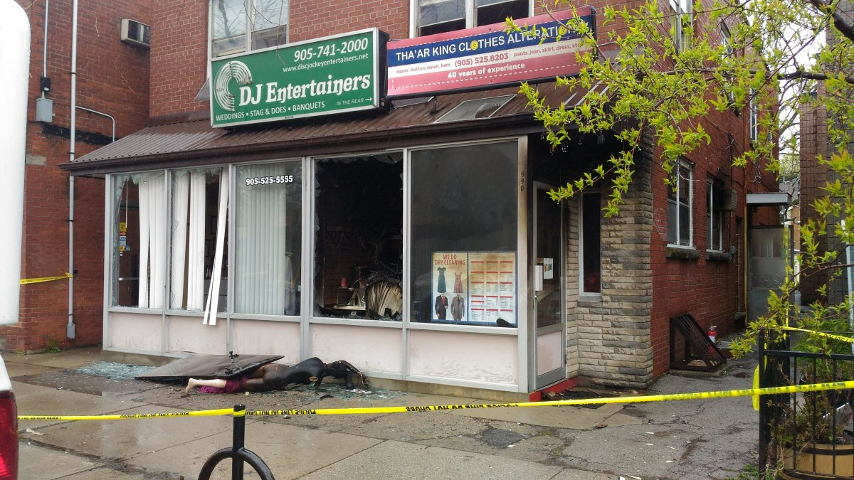 """Hamilton police say the fire at 900 King Street West is considered """"suspicious"""" and have called in the Office of the Fire Marshall to investigate."""