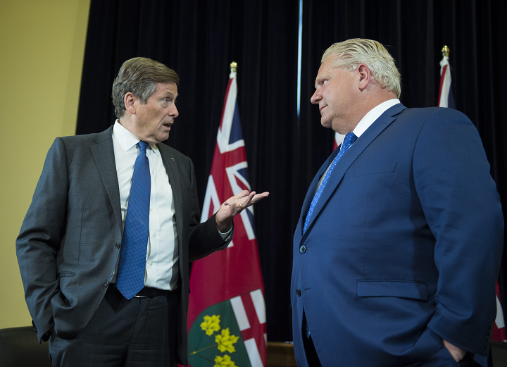 Toronto Mayor John Tory and Ontario Premier Doug Ford are photographed  at Queen's Park on July 9 2018.