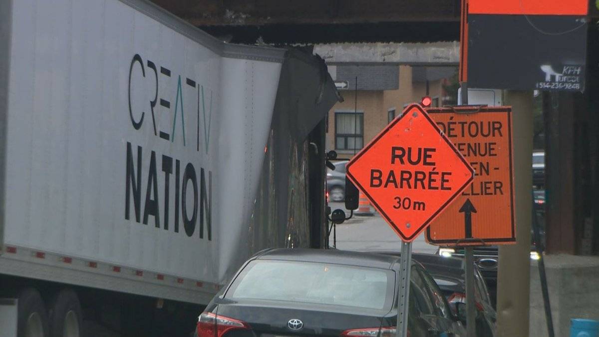 A tractor-trailer struck the Guy Street overpass on Thursday morning.