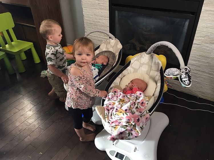 Megan and Justin's two sets of fraternal twins were born less than two years apart.