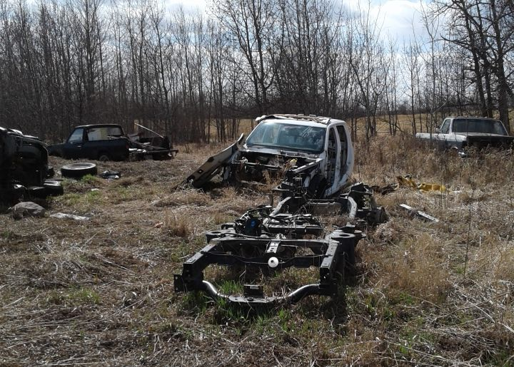 RCMP said more than $200,000 worth of stolen property was discovered at a chop shop in Two Hills, Alta. in April 2019.
