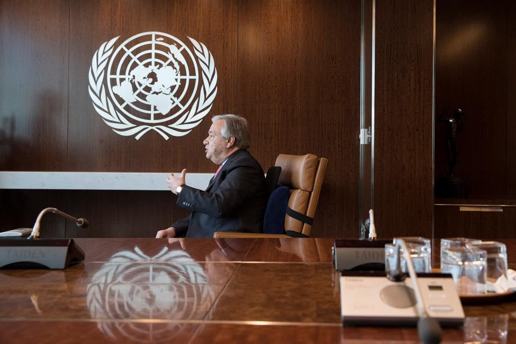 United Nations Secretary-General Antonio Guterres speaks during an interview at United Nations headquarters on Tuesday, May 7, 2019.