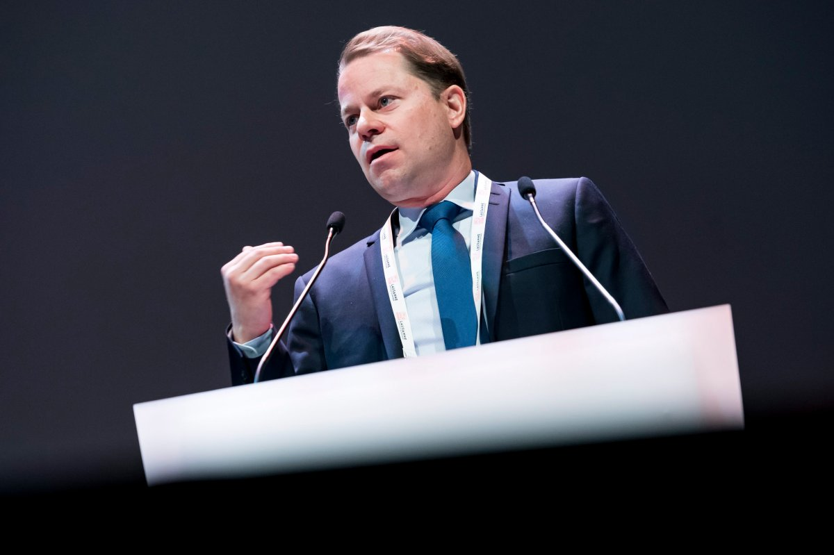 Olivier Niggli, world Anti-Doping Agency (WADA) Director General, delivers his speech during the opening day of the 2019 WADA annual symposium, at the Swiss Tech Convention Center, in Lausanne, Switzerland, 13 March 2019.