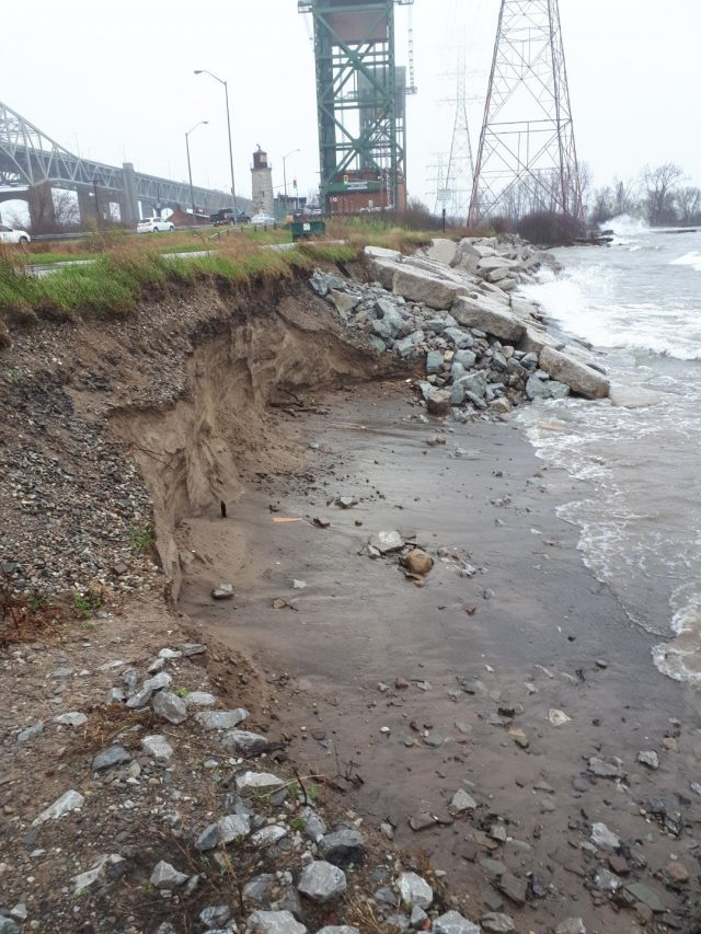 High water levels are resulting in erosion and flooding along the Lake Ontario waterfront trail.