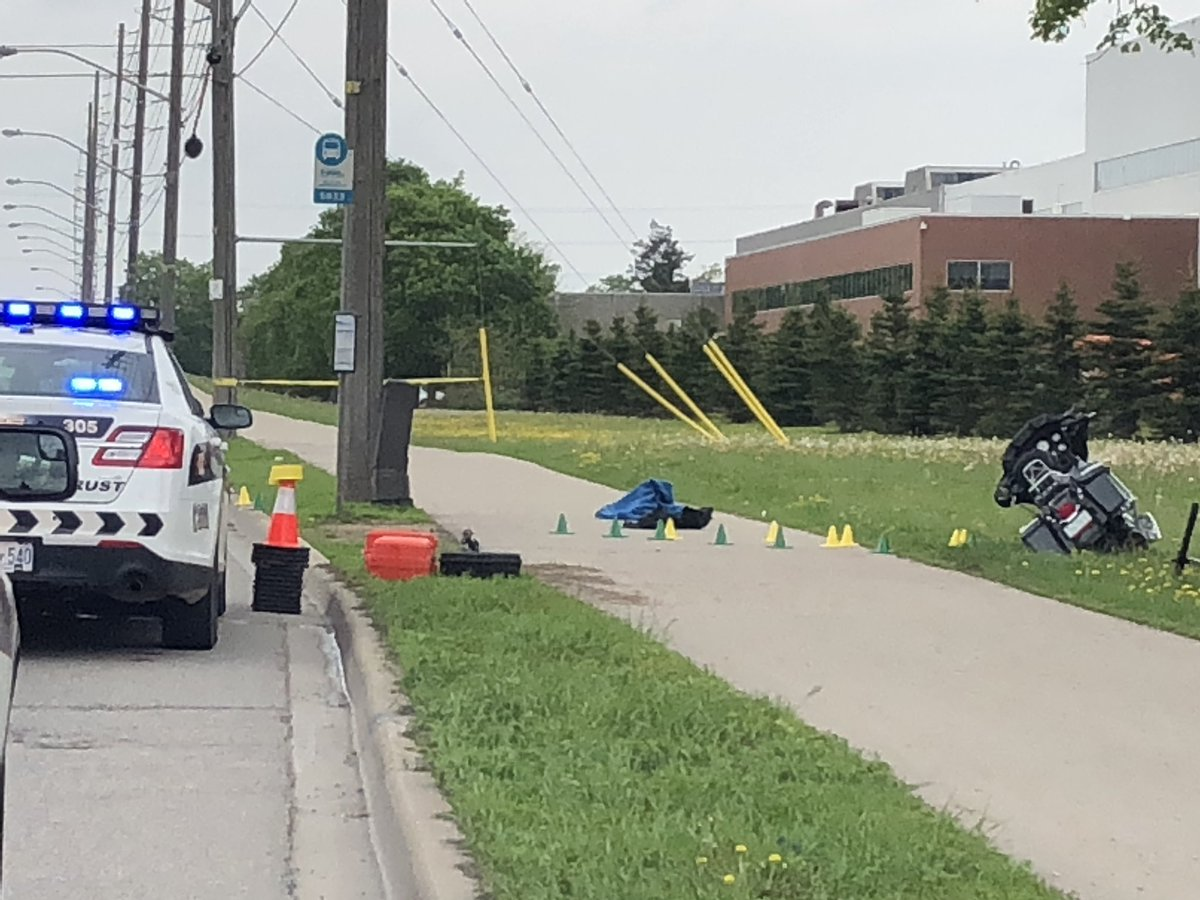 Guelph police are investigating a crash between a motorcycle and a car on Woodlawn Road.