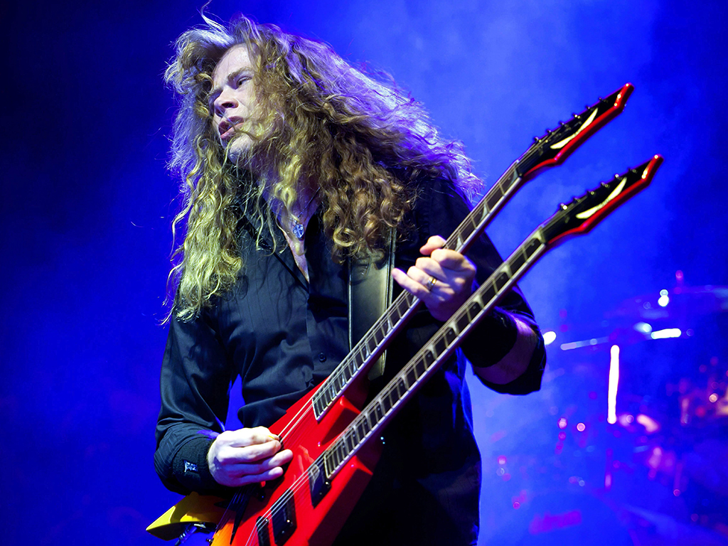 Dave Mustaine of Megadeth performing during a concert at the Budapest Sports Arena in Budapest, Hungary, on April 8, 2011.