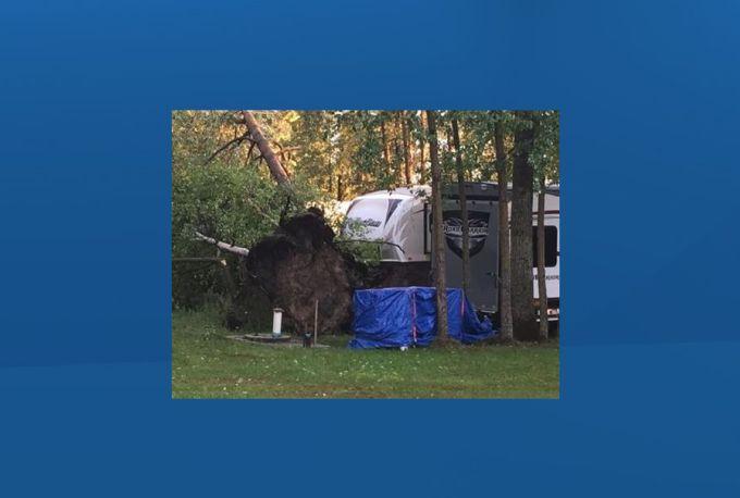 Storm damage at Fawcett Lake Resort, east of Slave Lake, Alta., on June 16, 2019.