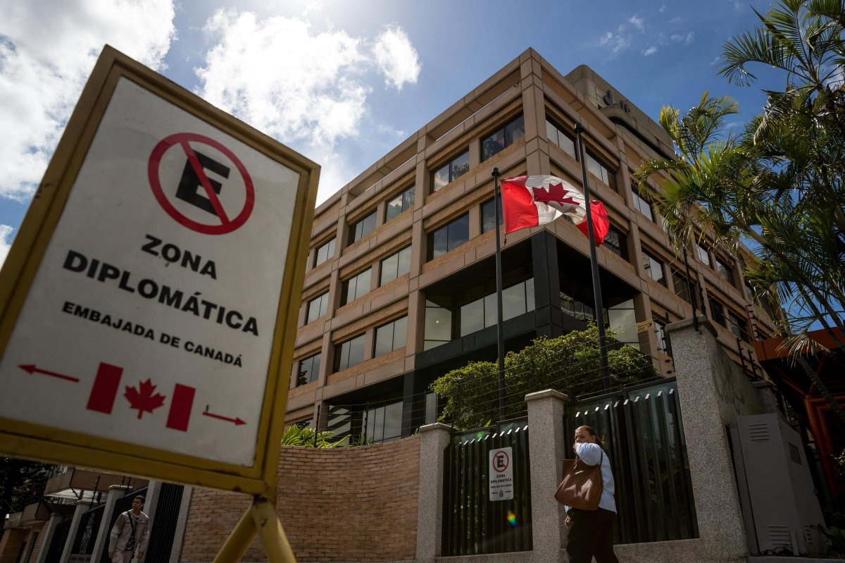 The Canadian embassy in Caracas, Venezuela, is shown in a 2017 file photo. The Canadian government is shutting down the embassy effective immediately.