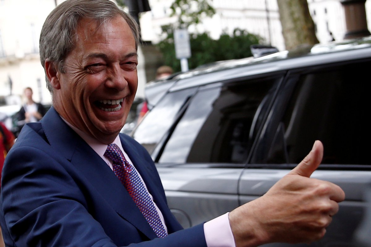Leader of the Brexit Party Nigel Farage, arrives at a party's news conference following the results of the European Parliament elections, in London, Britain May 27, 2019.