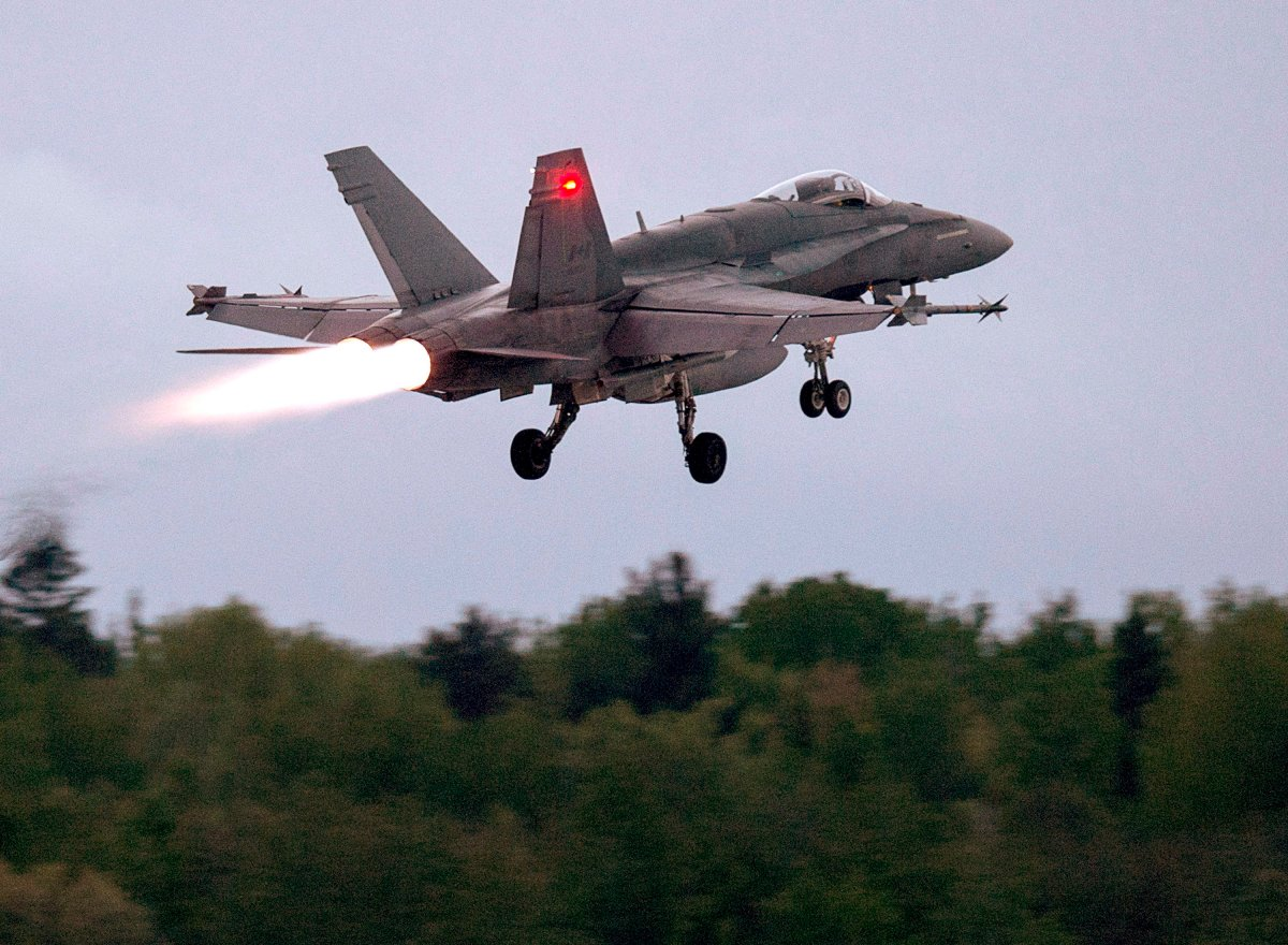 An RCAF CF-18 takes off from CFB Bagotville, Que. on Thursday, June 7, 2018. Defence officials say they expect to know next spring what sensor, weapons and defensive upgrades will be needed to ensure the country's aging CF-18 fighter jets are still able to fly combat missions until they are replaced in 2032.