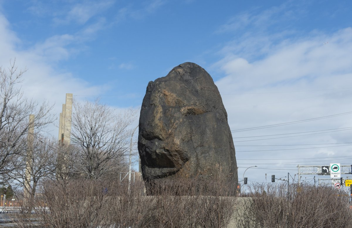 The Irish commemorative stone, also called the black rock, is seen in Montreal on Friday, March 15, 2019.