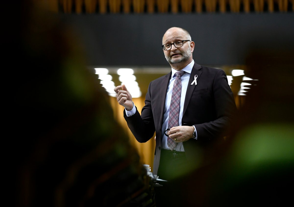 Minister of Justice and Attorney General of Canada David Lametti rises during a Committee of the Whole in the House of Commons on Parliament Hill in Ottawa on Tuesday, May 14, 2019.