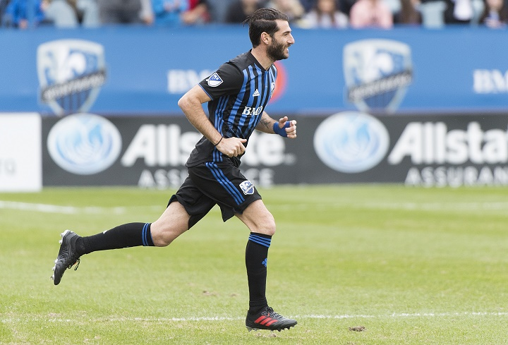 Montreal Impact's Ignacio Piatti comes off the bench during second half MLS soccer action against the New England Revolution in Montreal, Saturday, May 18, 2019.