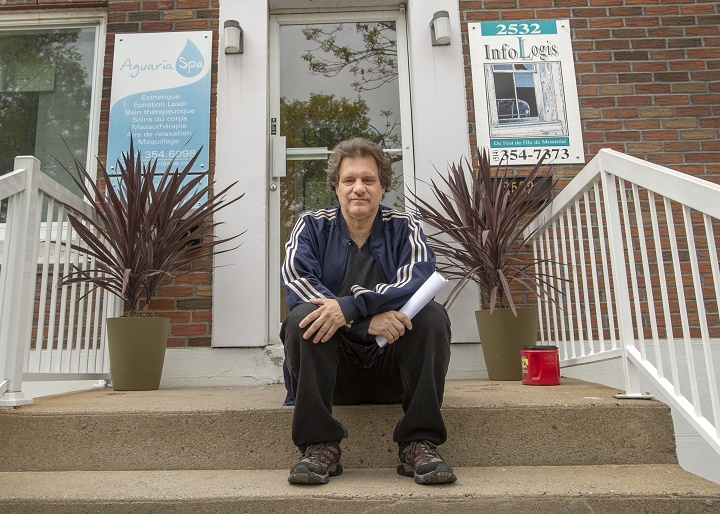 Richard Martin, who lives in a subsidized housing complex, sits in front of the social housing offices Wednesday, May 29, 2019 in Montreal. Montreal is about to introduce a new housing policy which will force condo developers to build more social and affordable housing for people like Martin.
