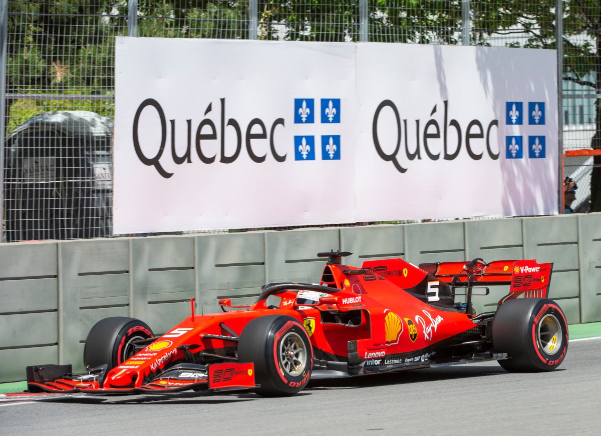 Ferrari driver Sebastian Vettel, of Germany, goes through the last chicane during the third practice session at the Canadian Grand Prix, Saturday, June 8, 2019 in Montreal.