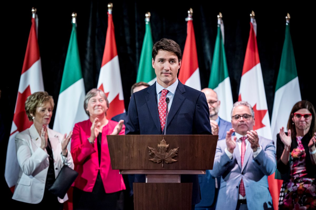 Prime Minister Justin Trudeau gives remarks at a reception held in honour of Italian Heritage Month in Vaughan, Ont., on Friday, June 14, 2019.