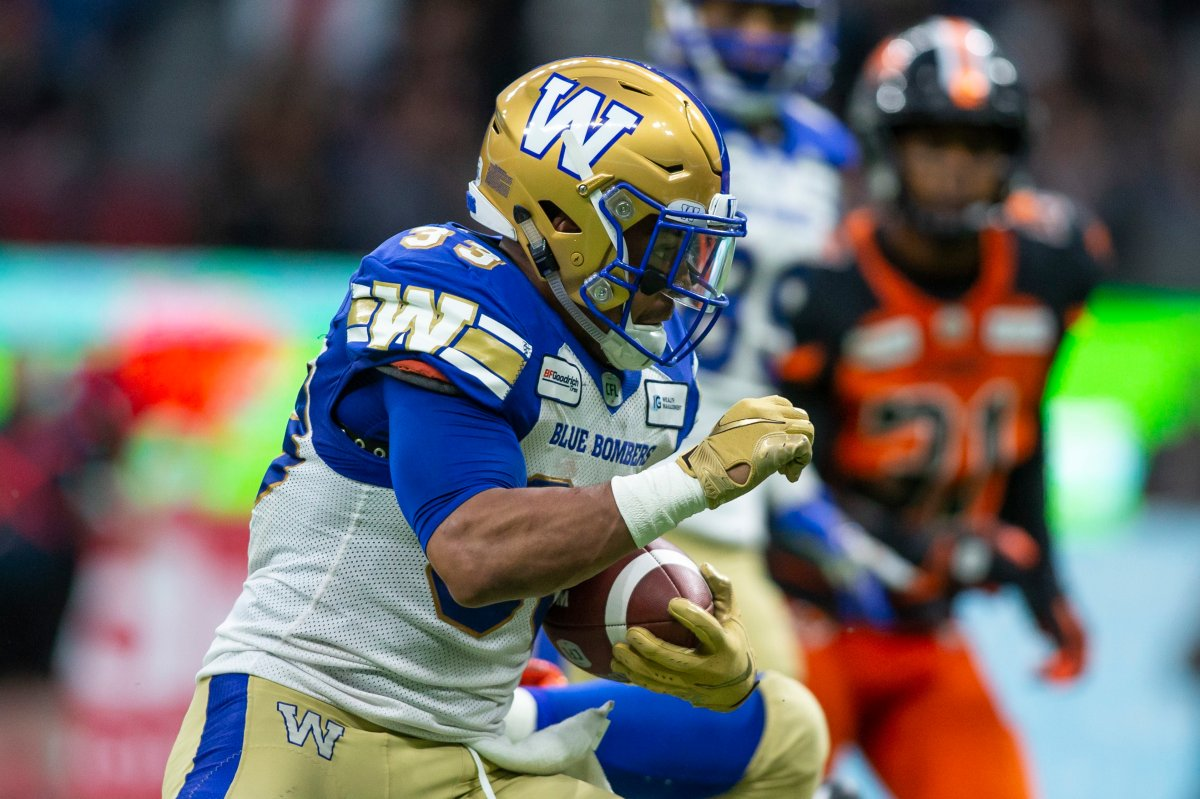 Winnipeg Blue Bombers' Andrew Harris (33) runs the ball against the B.C. Lions during the second half of CFL football action in Vancouver, B.C., on Saturday June 15, 2019.