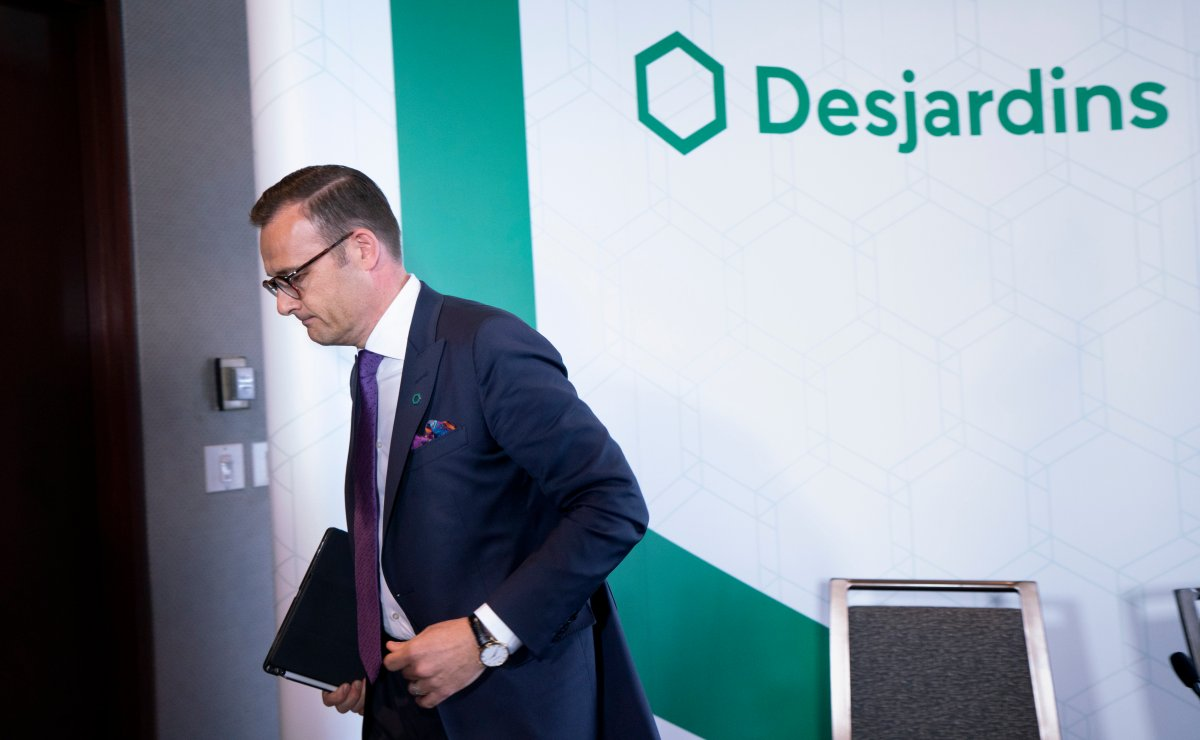 Desjardins President and CEO Guy Cormier leaves a news conference in Montreal on Thursday, June 20, 2019.