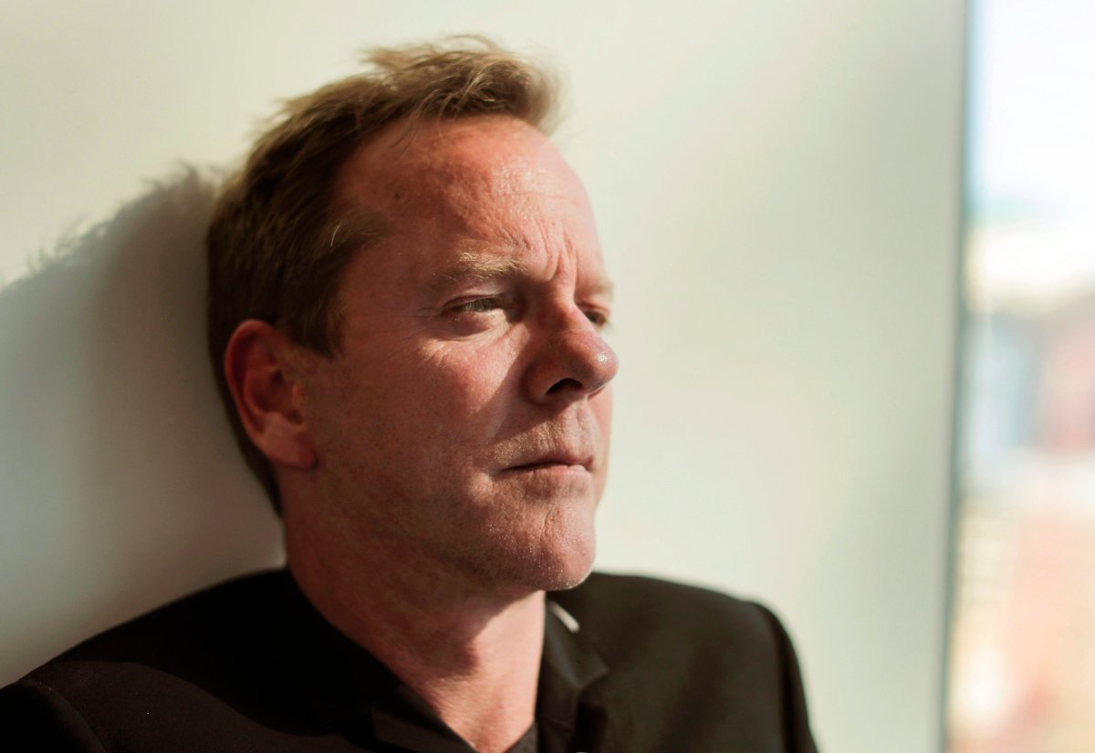 Toronto-raised actor-musician Kiefer Sutherland says it wasn't his intention to stir the political pot with a recent tweet directed at Ontario Premier Doug Ford. Sutherland poses for a photo during an interview in New York City on Aug. 13, 2016.