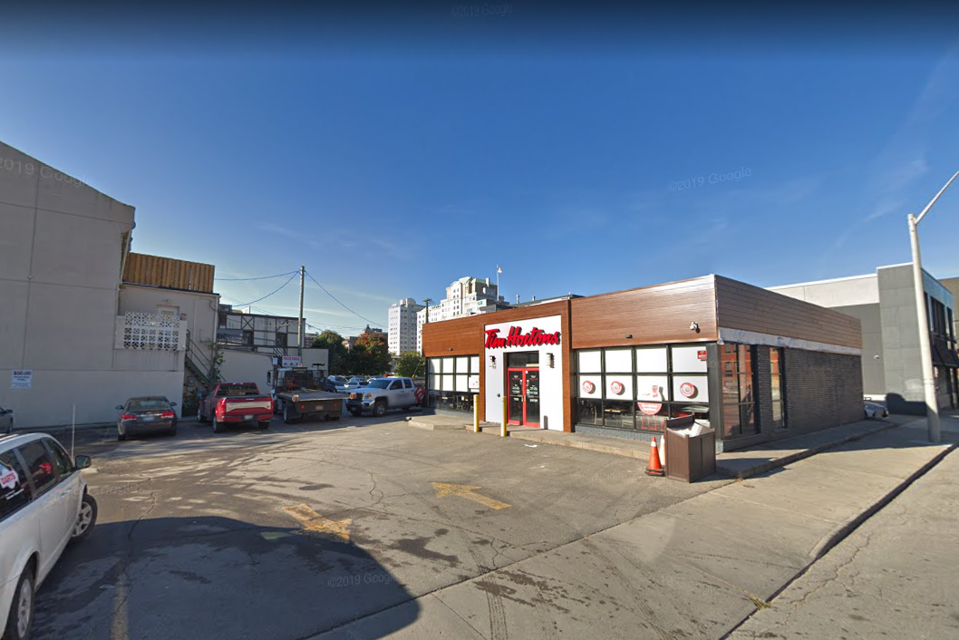 A man allegedly pointed a flare gun at customers while uttering threats inside a Tim Hortons at 80 John St S in Hamilton. Ont.