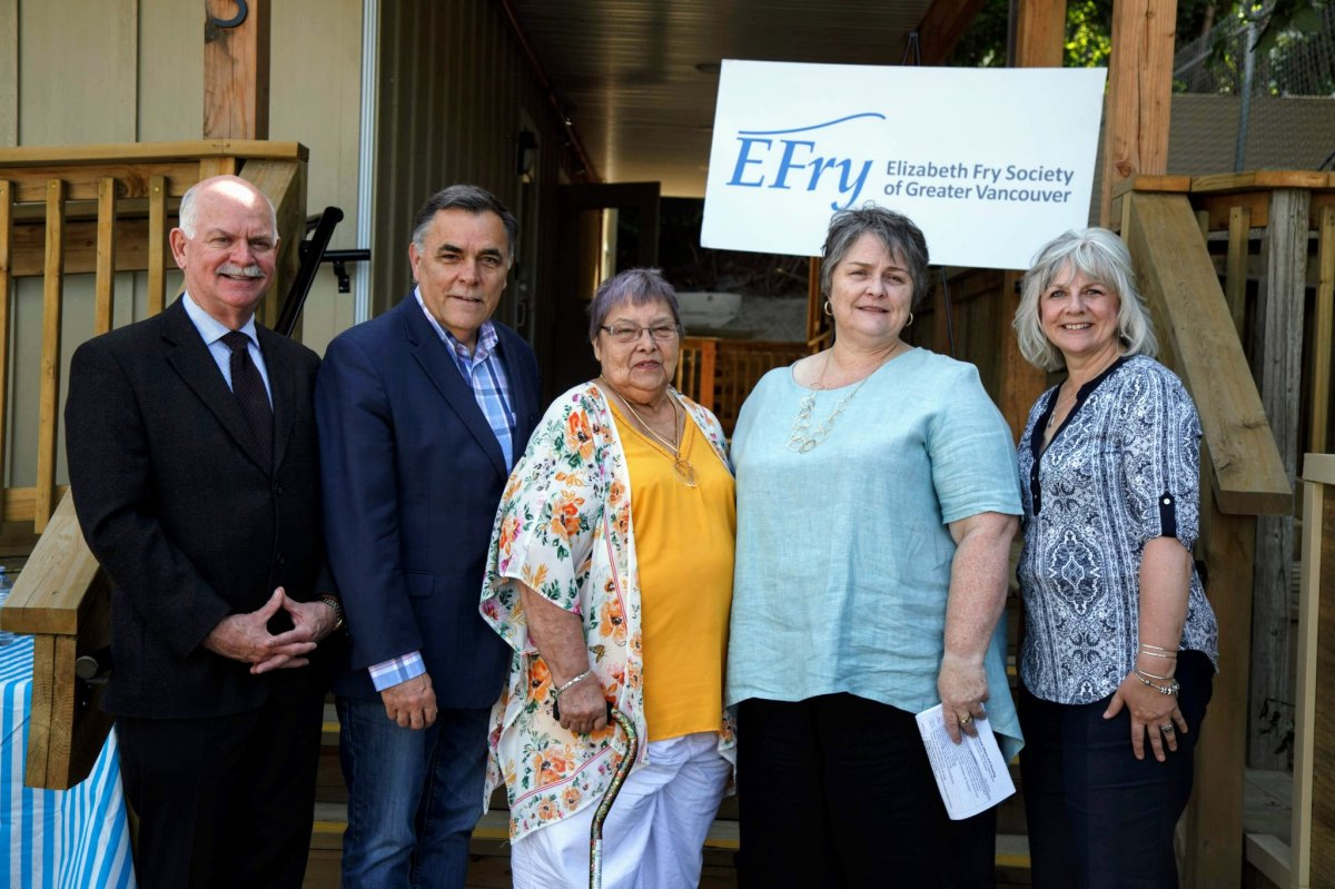 Surrey-Guildford MLA Gary Begg, Abbotsford South MLA Darryl Plecas, Elizabeth Fry Society executive director Shawn Bayes and Abbotsford city councillor Brenda Falk announce the opening of the Legacy Manor modular housing facility for vulnerable women in Abbotsford on Thursday, June 13, 2019.