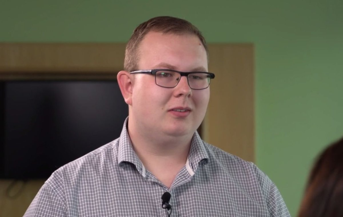 Andrew Buchner, 24, is the winner of the Servus Credit Union Big Share Contest.