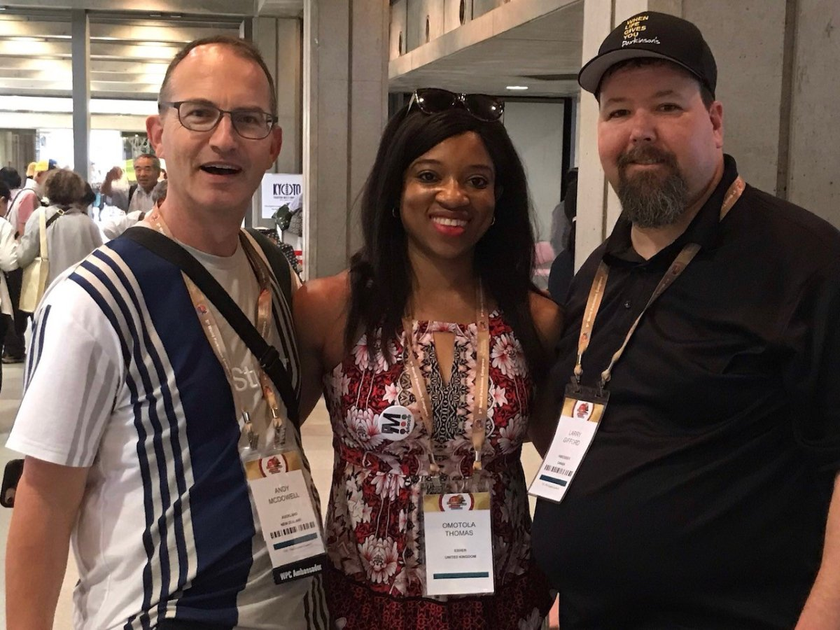 Andy McDowell, a person with Parkinson's from Auckland, New Zealand, and Omotola Thomas, a person with Parkinson's from the United Kingdom, join Larry Gifford on 'When Life Gives You Parkinson's' at the World Parkinson's Congress in Kyoto, Japan.