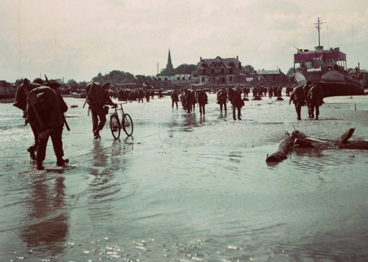 Canadian soldiers land on a Normandy, France beach during the D-Day invasion June 6, 1944.