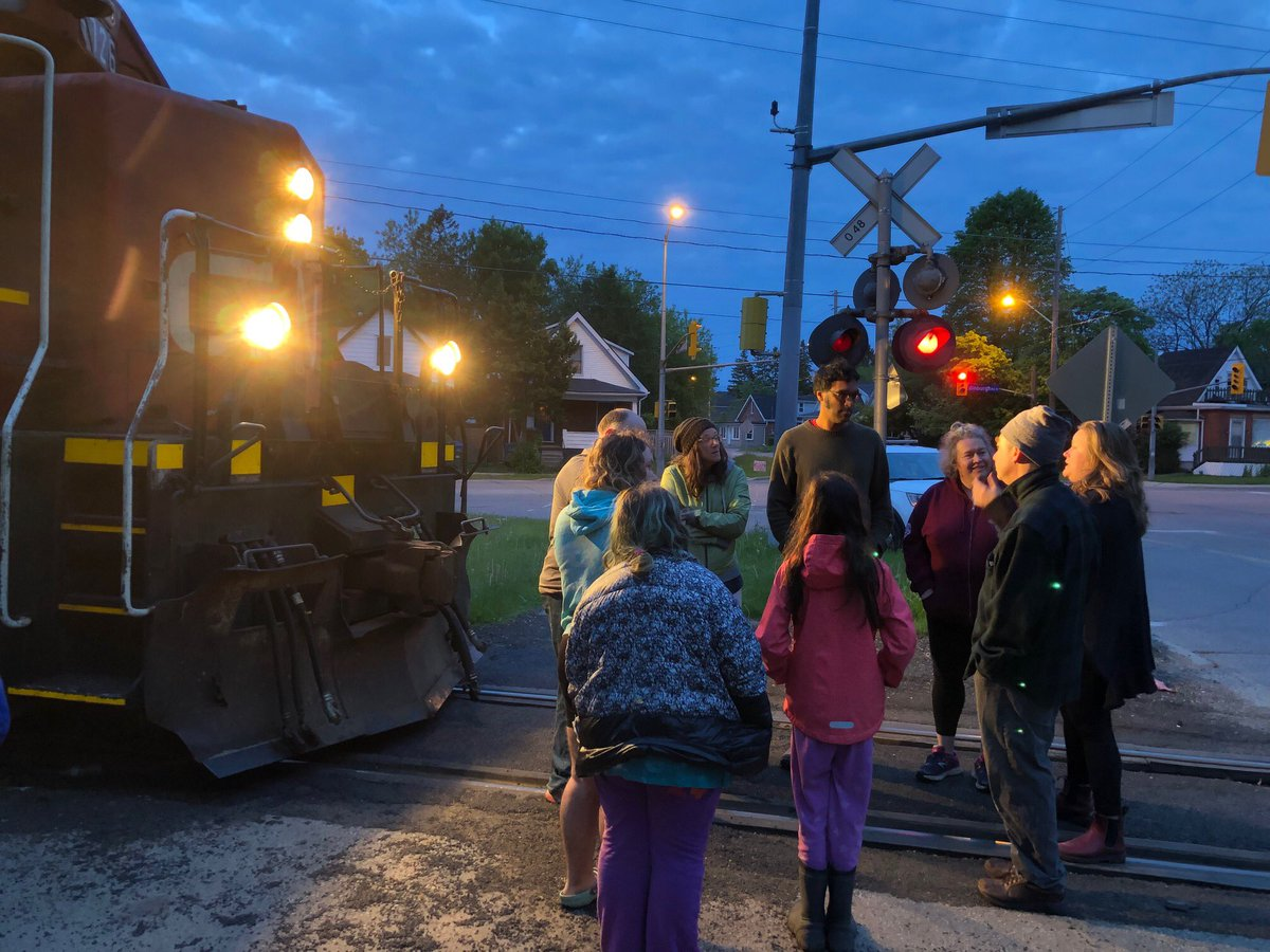 Guelph residents, who are fed up with the CN Rail trains blaring their horns during overnight work, staged a small protest on the tracks on Tuesday morning.