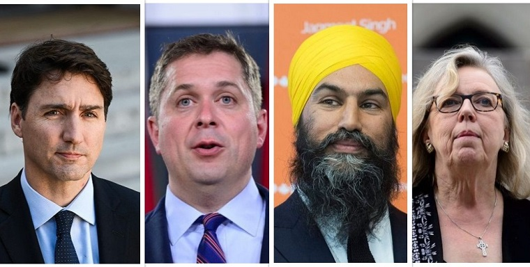 Federal party leaders from left to right: Liberal party Leader Justin Trudeau, Conservative party Leader Andrew Scheer, NDP Leader Jagmeet Singh, Green party Leader Elizabeth May.