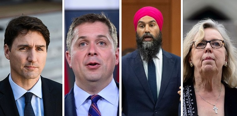 Federal party leaders from left to right: Liberal Party Leader Justin Trudeau, Conservative Party Leader Andrew Scheer, NDP Leader Jagmeet Singh, Green Party Leader Elizabeth May,.